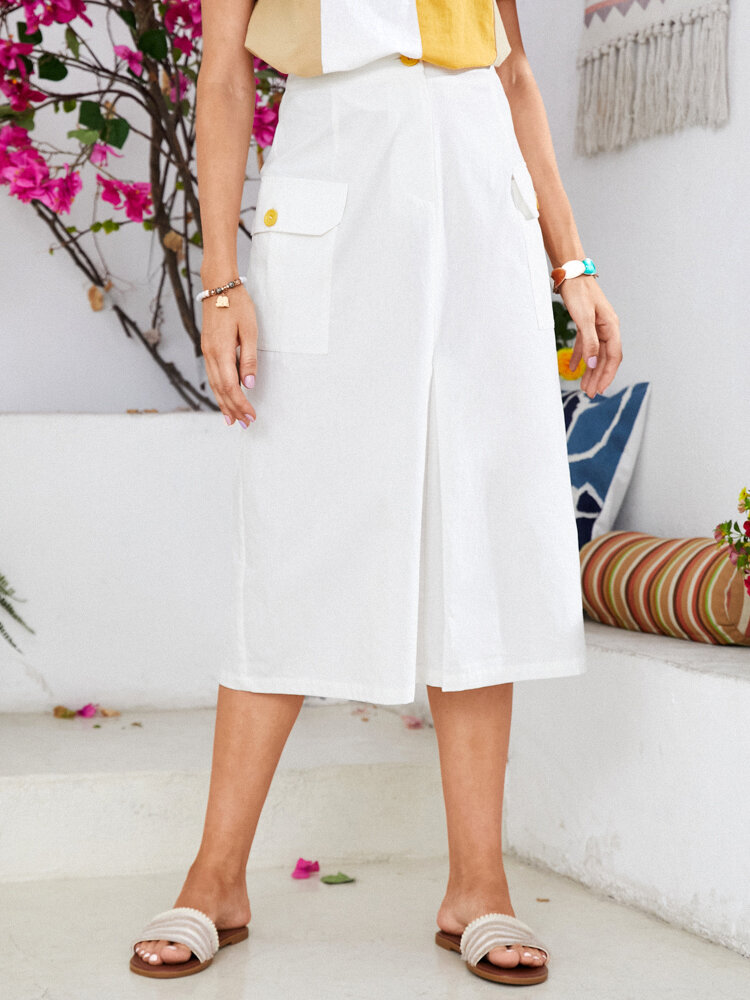 Casual Buttons Pockets Pleated Midi Skirt for Women