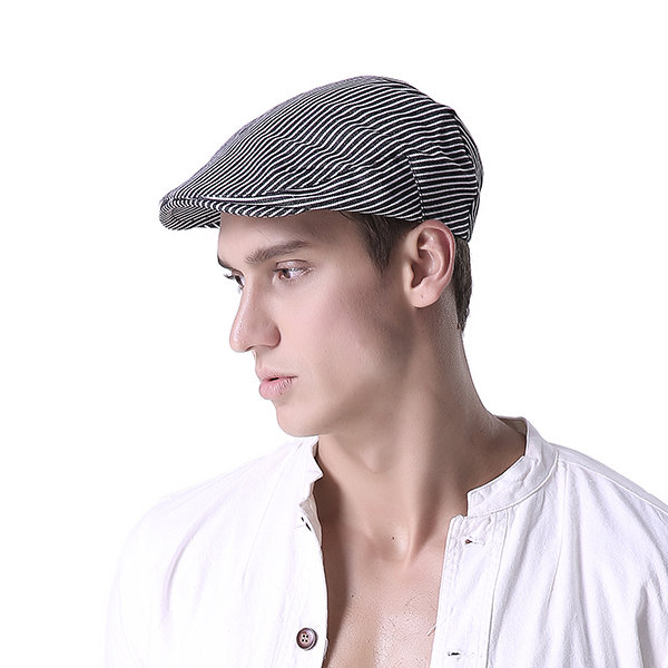 Men Women Cotton Stripe Beret Hat Outdoor Visor Flat Cap Planas Boina Masculina