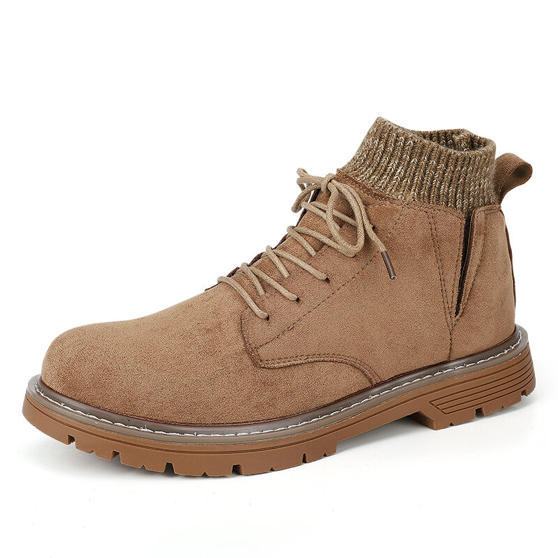 Men Synthetic Suede Work Style Warm Plush Lining Sock Mouth Ankle Boots