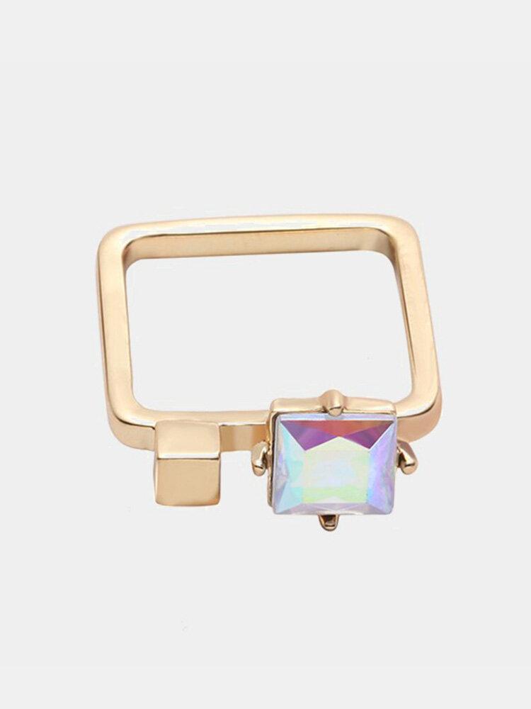 Balancing Style Bohemian Ring Alloy Square Rainbow Rhinestone Ring