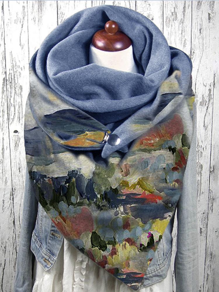 女性グラフィティ油絵プリントパターンマルチカラーSoftパーソナリティネックプロテクション保温スカーフ