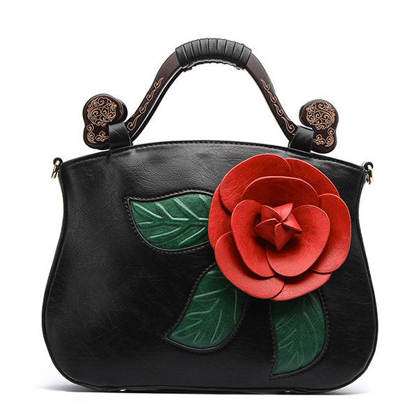 Brenice Vintage PU Leather Rose Decorative Handbag Crossbody Bag For Women