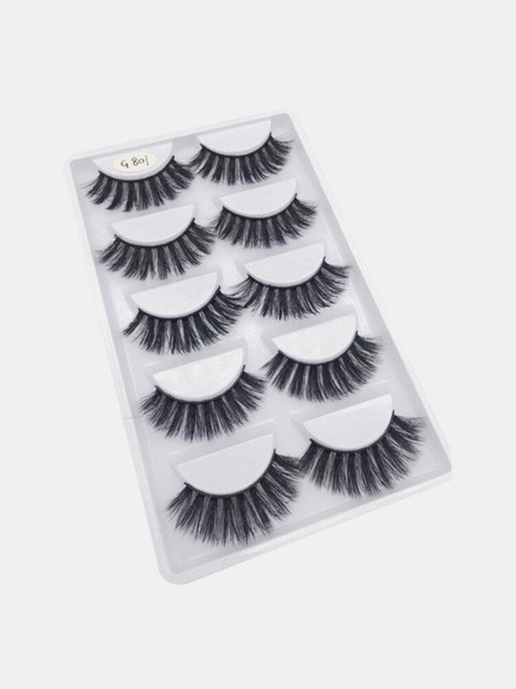 Mink Hair False Eyelashes 5 Pair 3D Thick Handmade Fake Eyelash Foe Eye Makeup Cosmetic