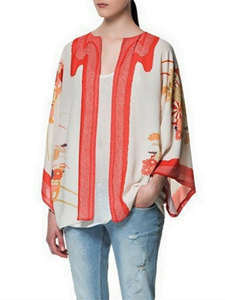 Vintage Loose Floral Print Batwing Sleeve Chiffon Kimono Cardigan