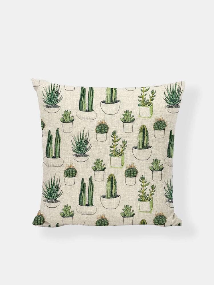 1PC Green Plant Pattern Soft Pillowcase Home Decor Sofa Chair Car Seat Throw Cushion Cover