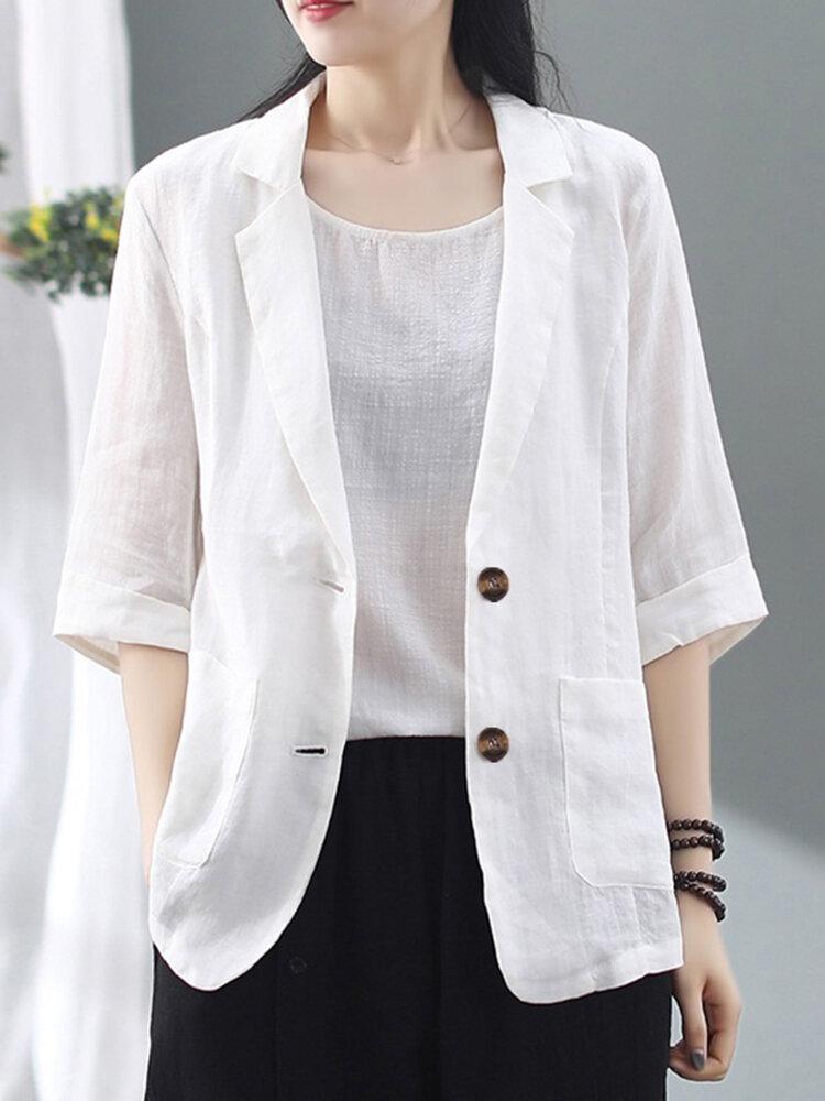 Однотонная повседневная куртка с отложным воротником и рукавами 3/4 с карманами