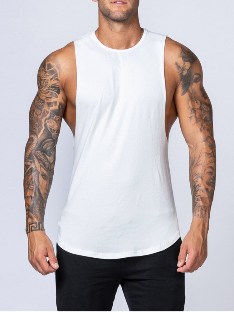 Mens Sporty Solid Color Fitness Low Cut Tank Top