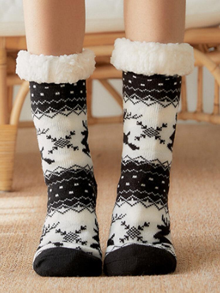Calzino da donna alce natalizio Plus Velvet Sleep Calze Casual Floor Calze