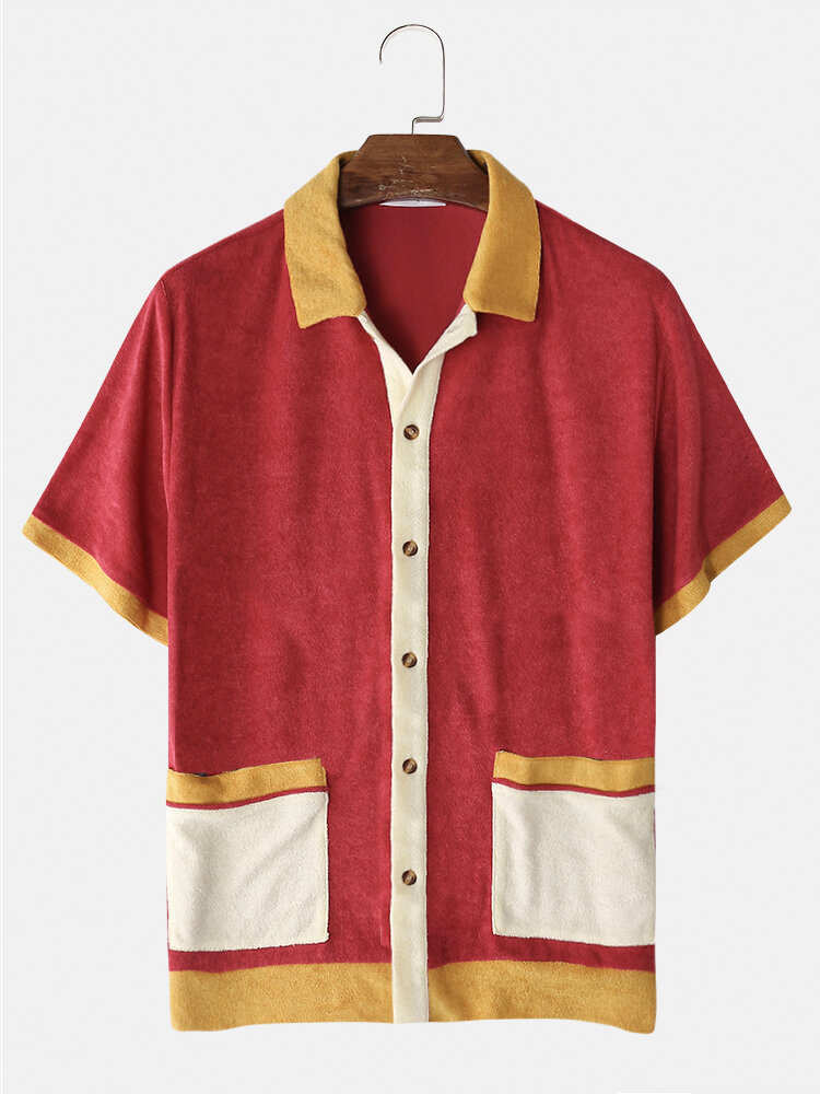 Mens Towelling Contrast Patchwork Double Pocket Preppy Short Sleeve Shirts