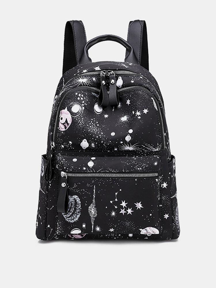 Women Large-capacity Starry Sky Pattern Shoulder Bag Backpack