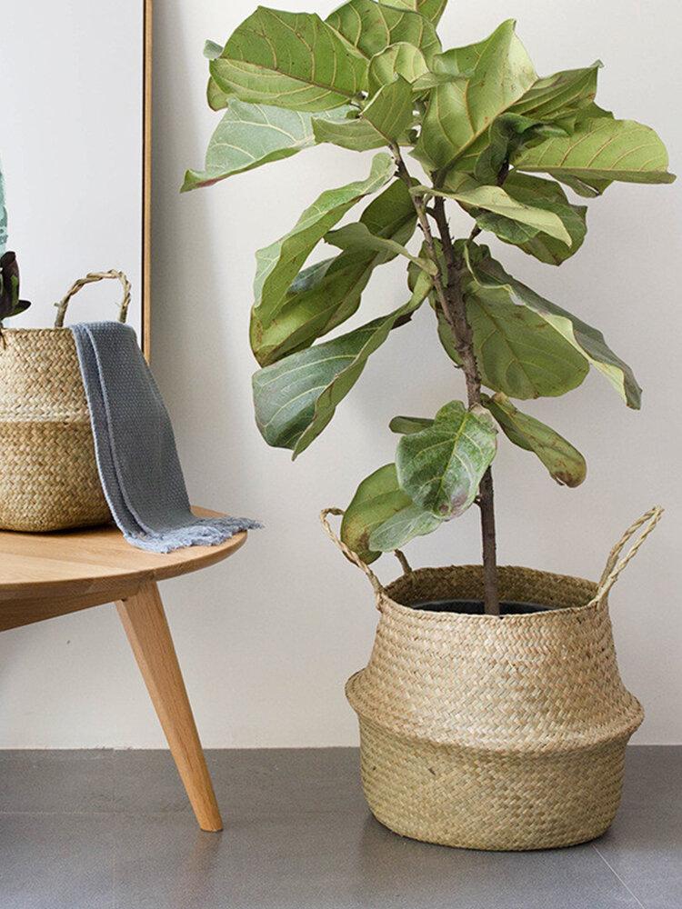 Handmade Seagrass Woven Storage Basket Planting Bag Foldable