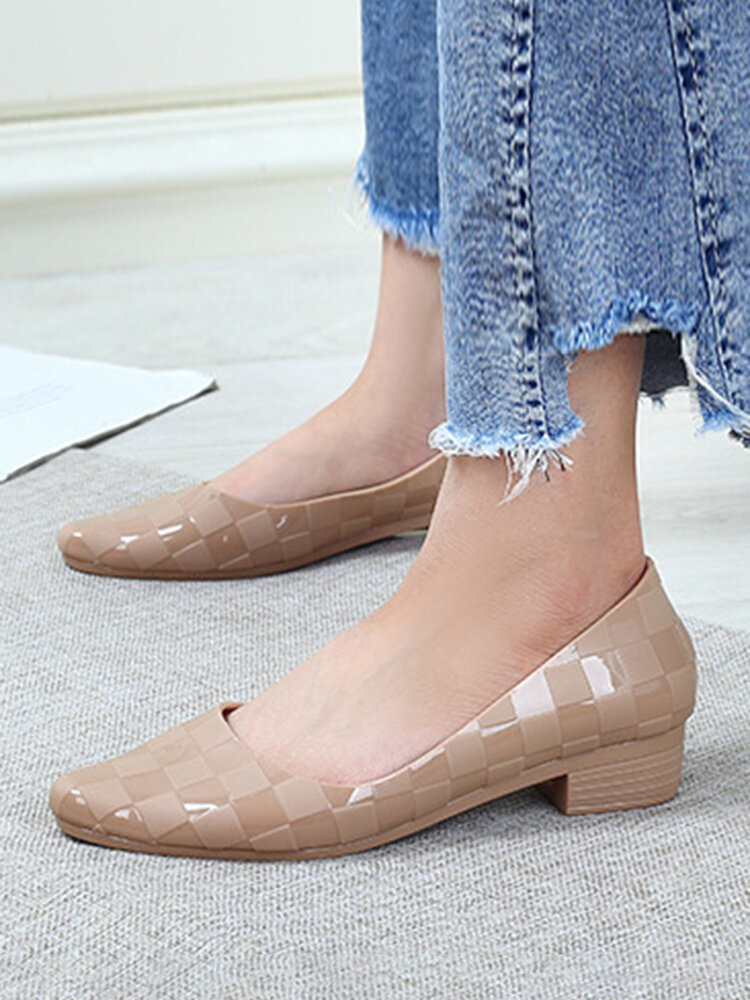 Women Casual Jelly Pointed Toe Gingham Block Heels Loafers