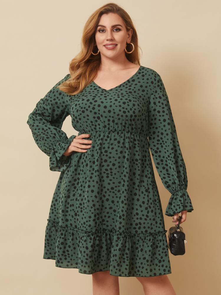Polka Dot Print V-neck Lantern Sleeve Plus Size Ruffle Dress for Women