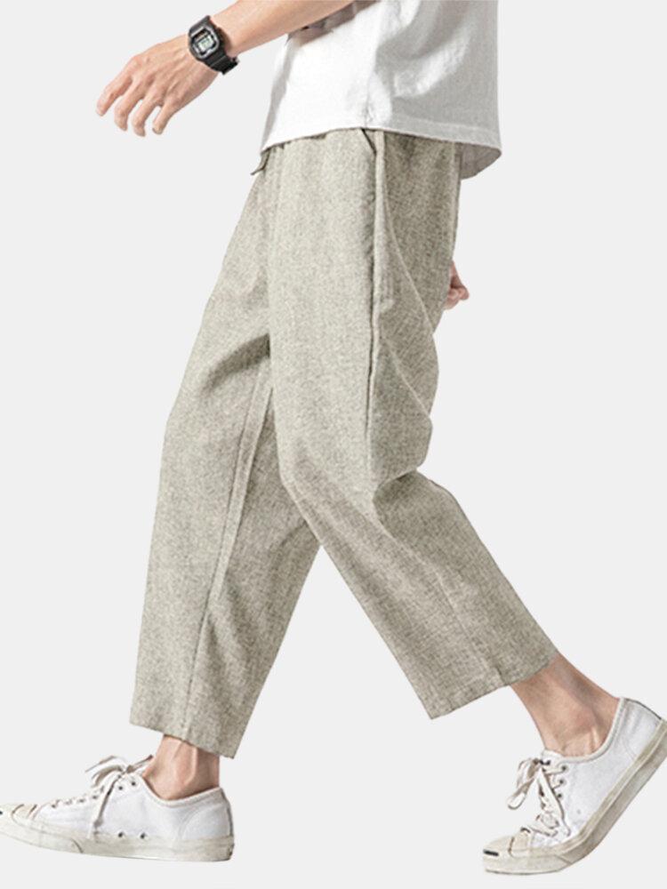 Mens Oriental Cotton Linen Ankle-Length Pants