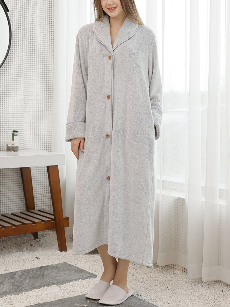 Women Flannel Fleece Solid Color Belted Button Front Lapel Casual Home Thick Robes