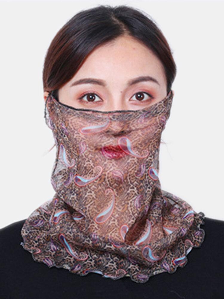 Zebraプリントヒョウプリント通気性プリントマスク首の保護日焼け止め耳に取り付けられたスカーフ