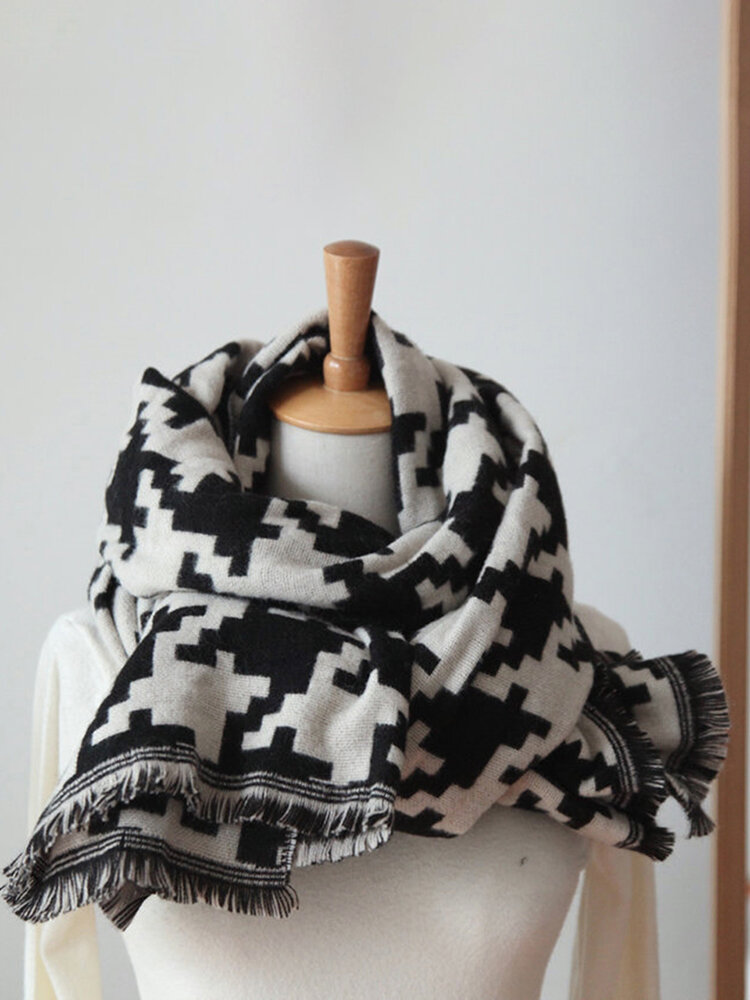Black And White Color Houndstooth Scarf Women's Retro Soft Shawl