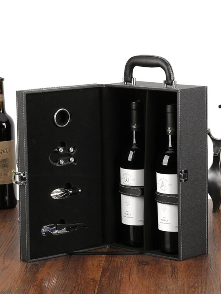 SaicleHome Leather Double Red Wine Storage Box Luxurious Life Gifts Wine Long Storage Containers