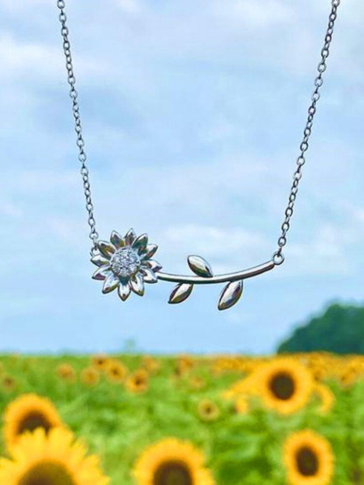 Horizontal Sunflower Women Necklace Diamond Mount Flower Pendant Clavicle Chain