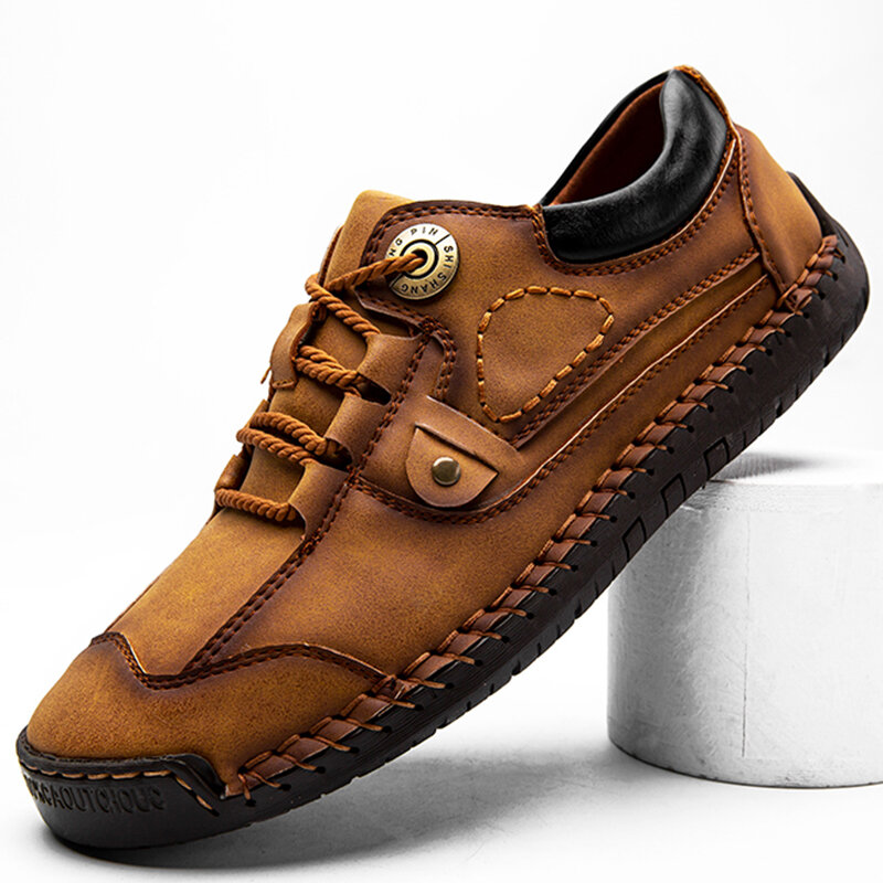 Men Retro Hand Stitching Non Slip Casual Leather Shoes