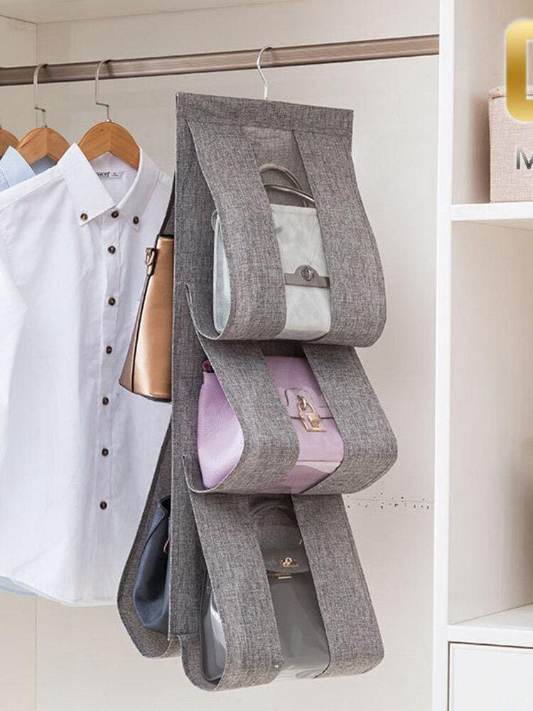 Creative Transparent Multi-Layer Wardrobe Bag Storage Hanging Bag Dust Cloth Cotton And Linen