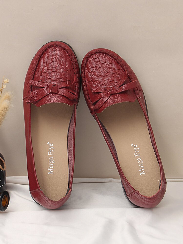 Women Real Leather Bow Briaded Soft Flats