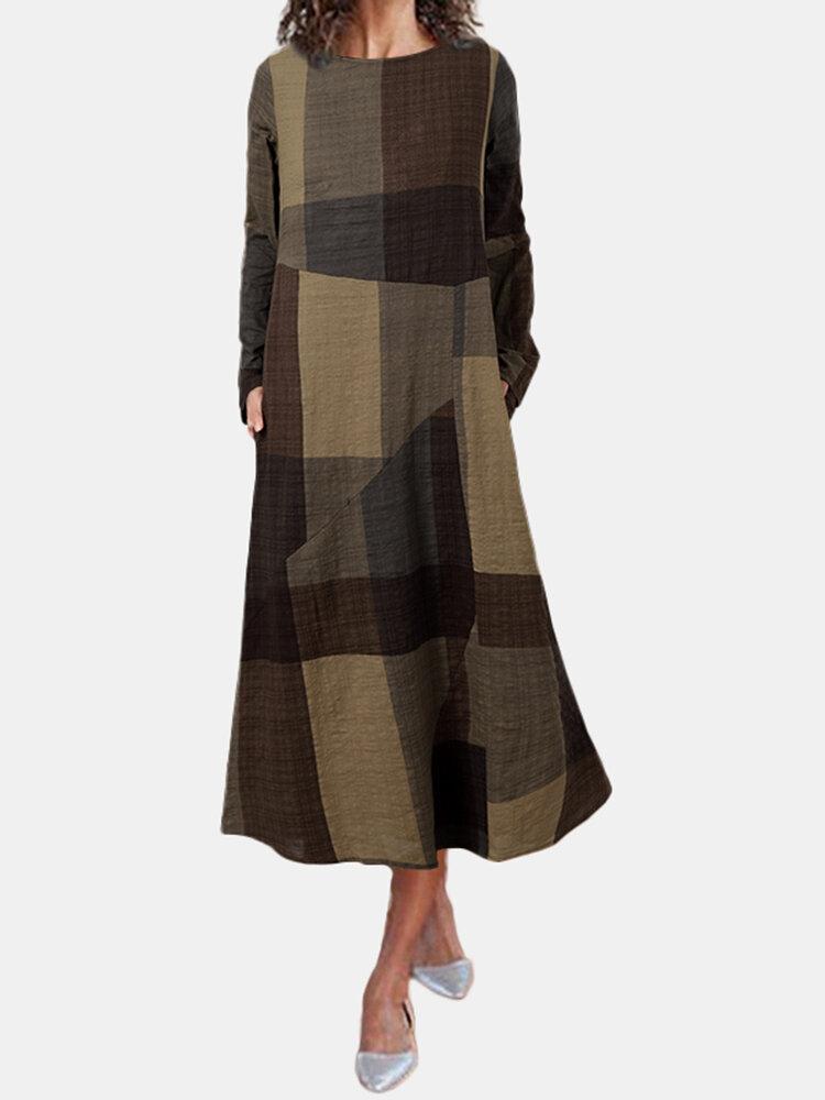 Plaid Print Taschen O-Ausschnitt Langarm Casual Kleid