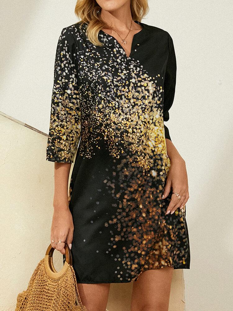 V-neck 3/4 Sleeve Light Print Dress for Women