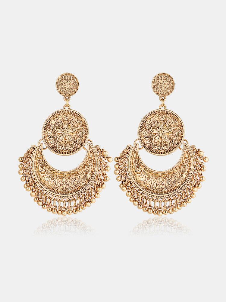 Vintage Ethnic Tassel Pendant Flower Moon Drop Dangle Earrings for Women Jewelry for Her