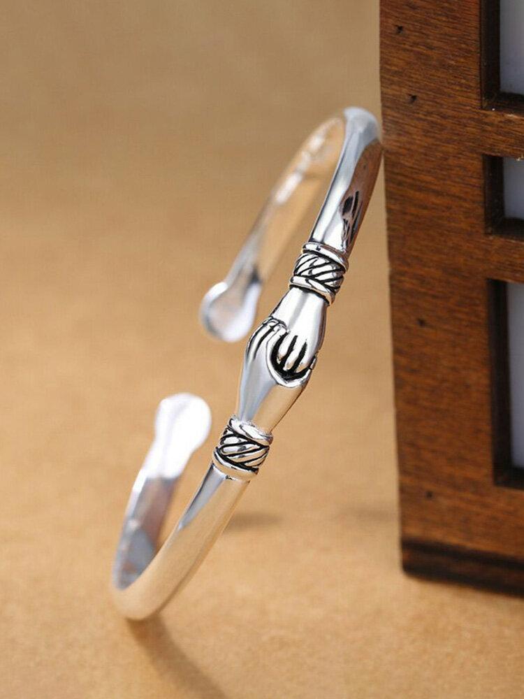 Elegant 925 Silver Plated Women Ring Adjustable Handshake Positive Energy Tail Ring