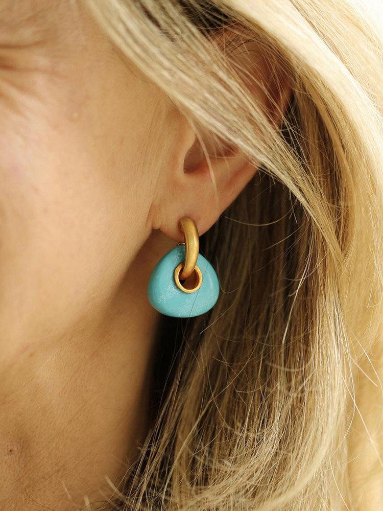 Vintage Geometric Natural Stone Women Earrings Triangle Turquoise Pendant Earrings