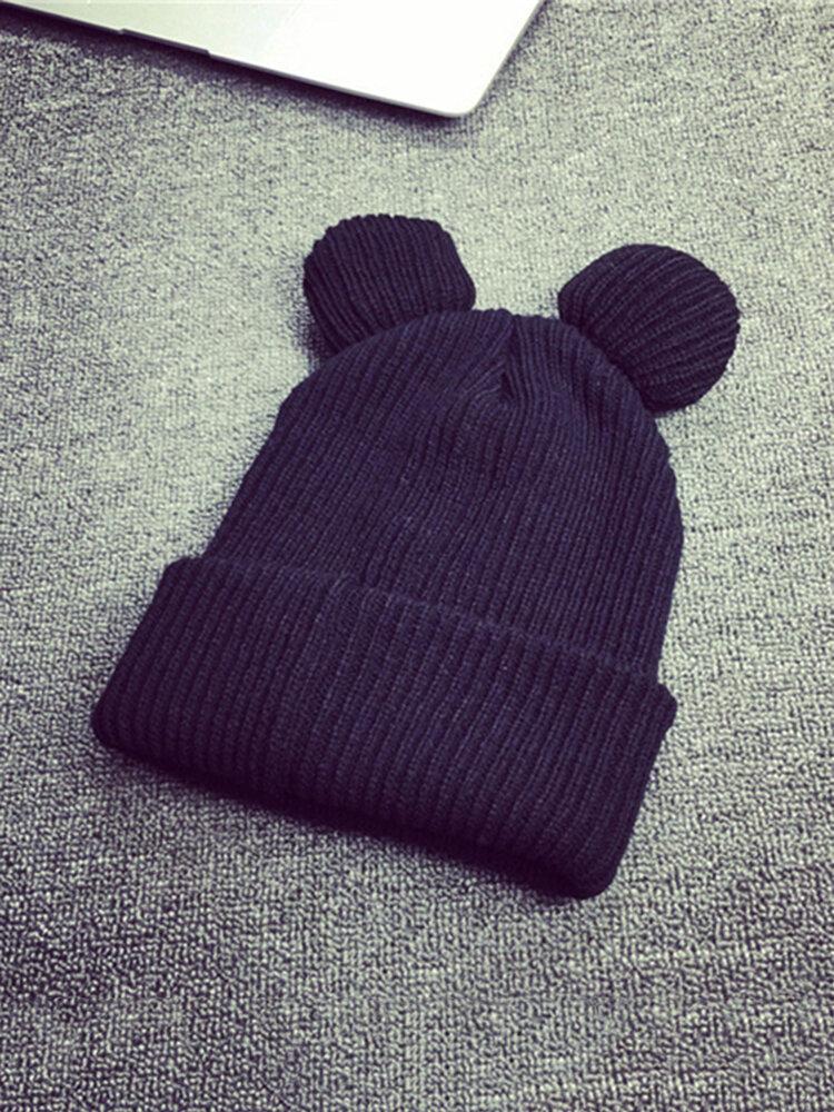 Women Beanie Cap Cat Ears Winter Thick Knitted Wool Warm Soft Hat