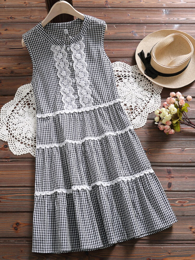 Plaid Lace Patchwork Sleeveless Vintage Dress For Women