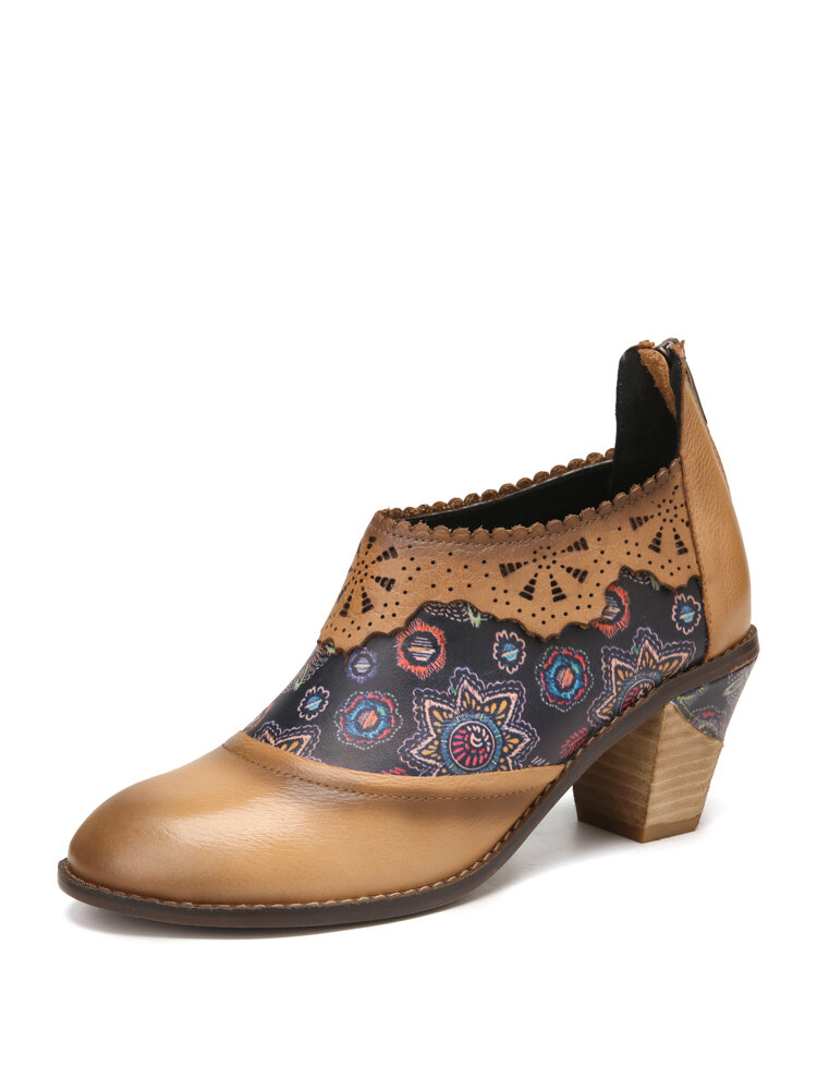SOCOFY Pattern Cowhide Leather Wearable Stitching Chunky Heel Back Zipper Ankle Heels