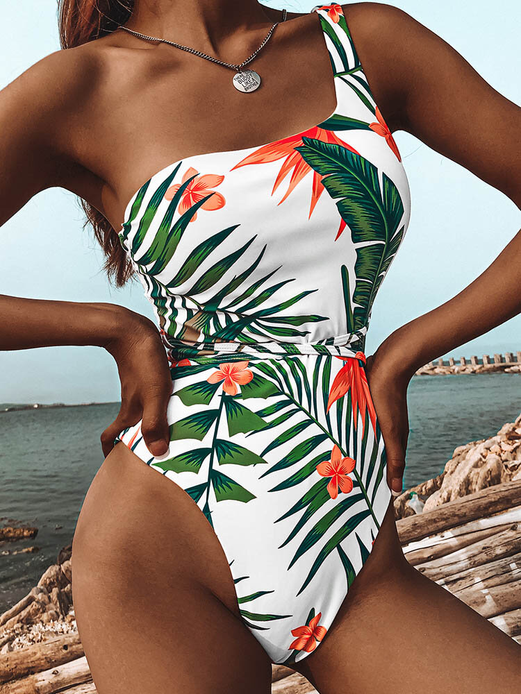 Women Tropical Leaf Print High Fork Knotted One Shoulder Holiday Swimsuit