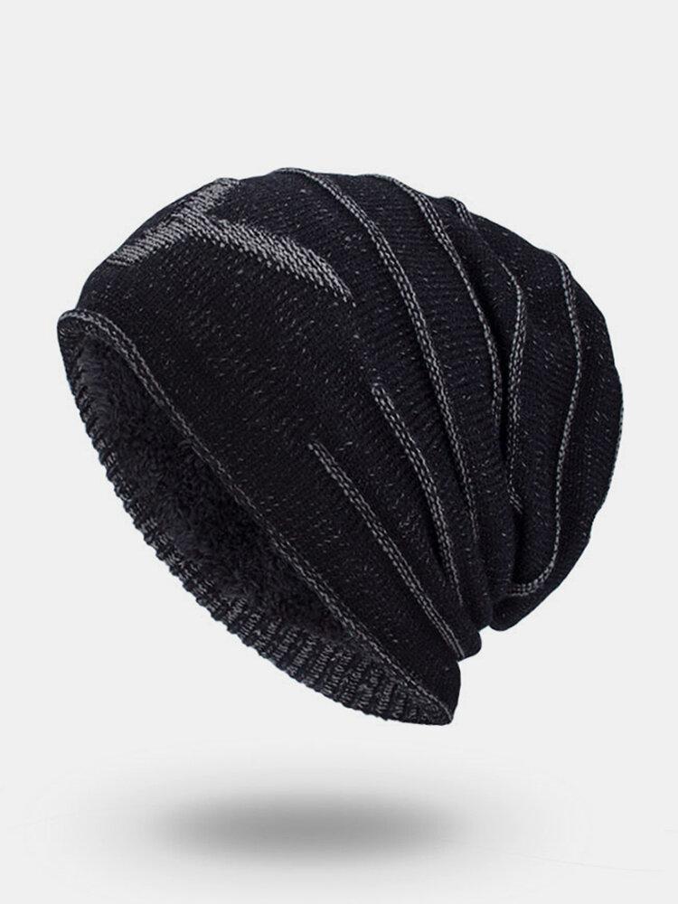 Men Winter Plus Velvet Letter Striped Pattern Outdoor Knitted Warm Beanie Hat