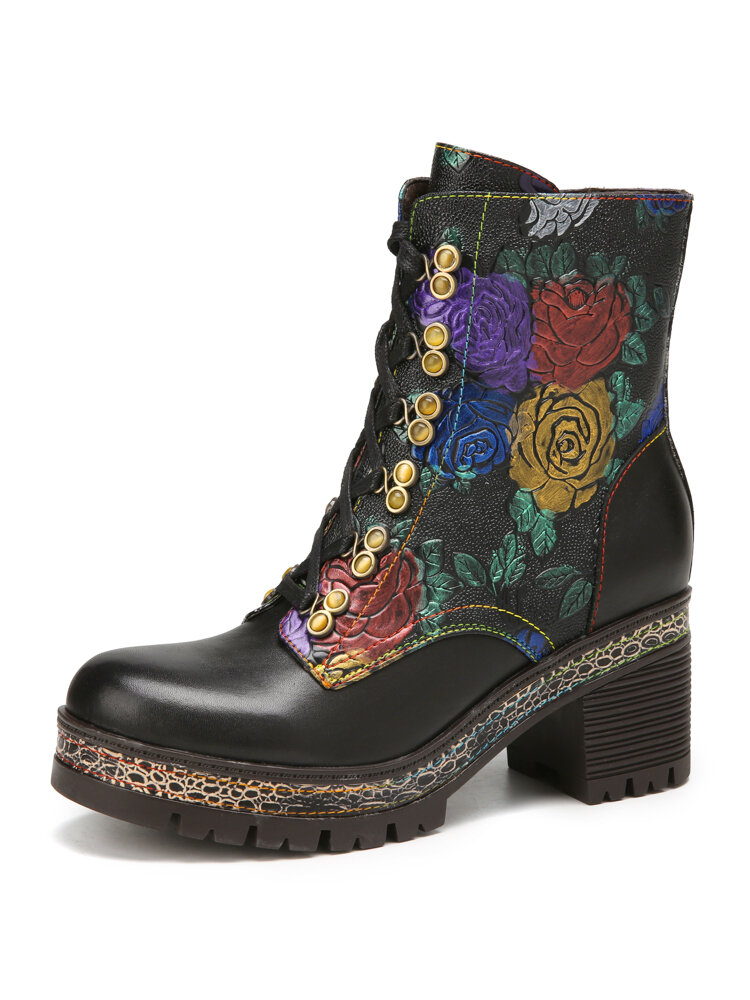SOCOFY Vintage Graceful Flowers Embossed Leather Comfy Warm Lining Round Toe Platform Chunky Heel Short Boots