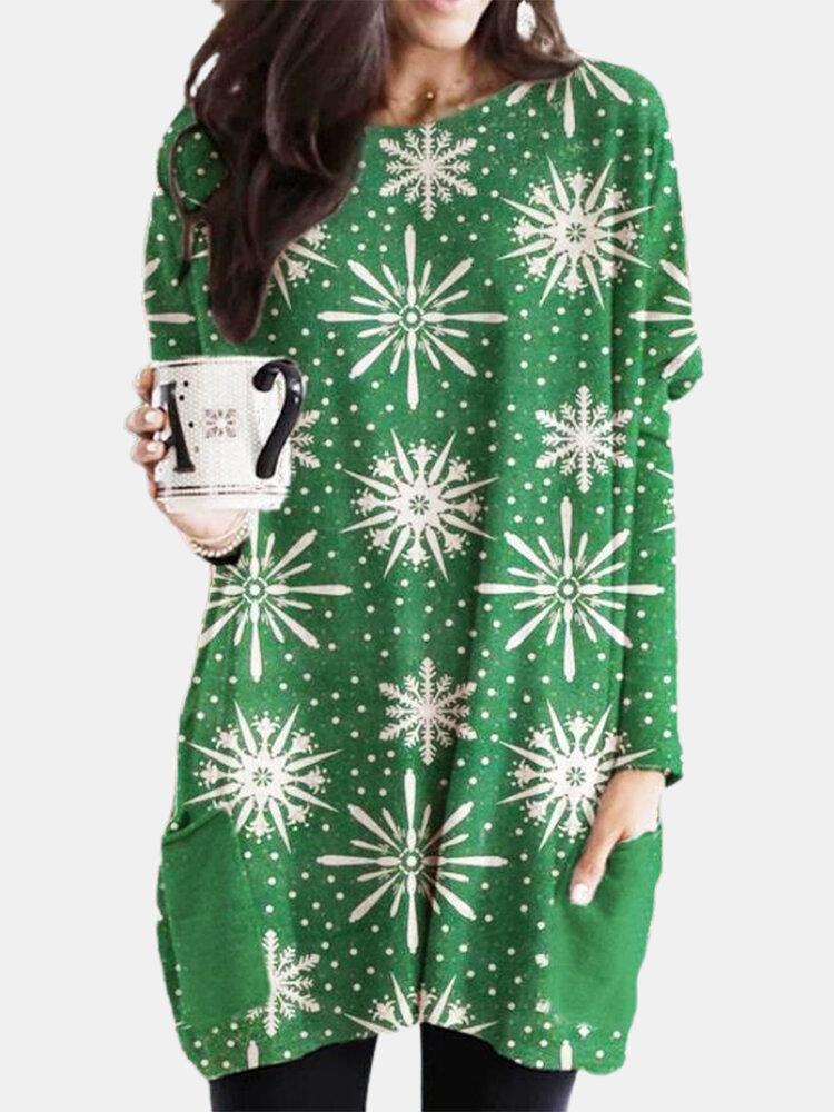 Christmas Print Long Sleeve O-neck Casual Blouse For Women