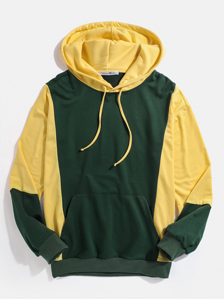 Mens Contrast Color Stitching Kangaroo Pocket Pullover Hoodie