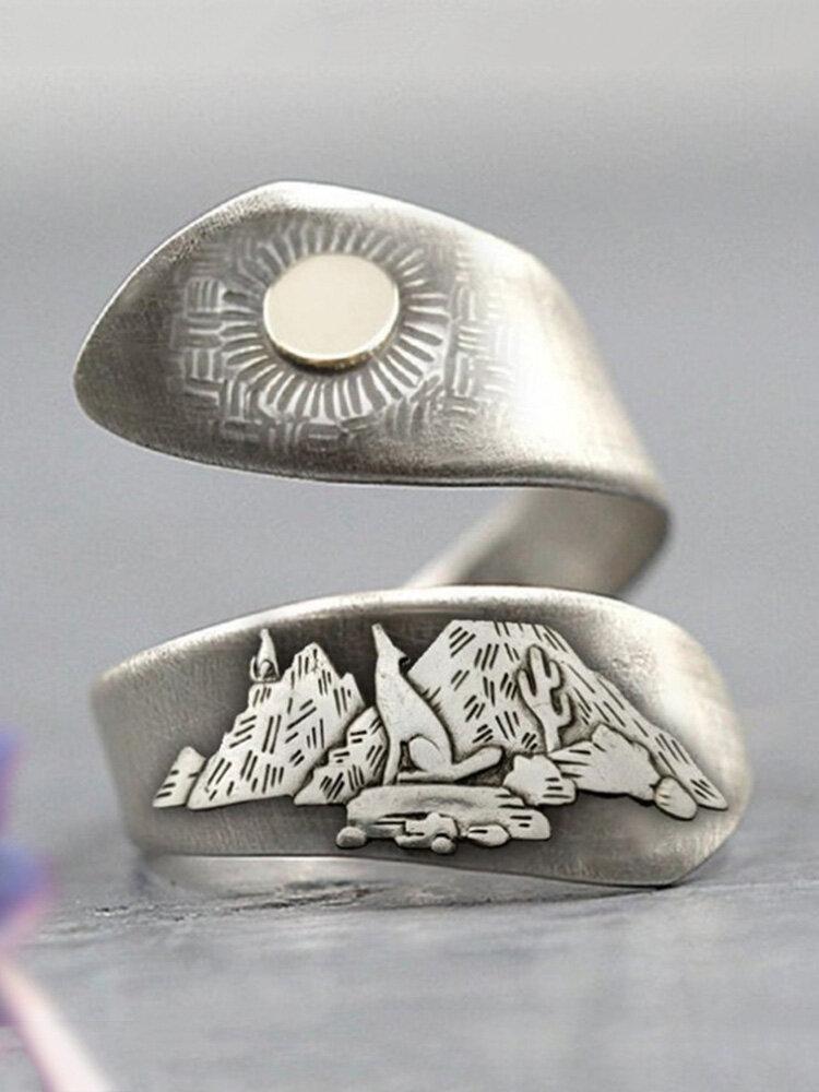 Vintage Desert Night Women Ring Adjustable Open Cactus Moon Sunrise Ring Jewelry Gift
