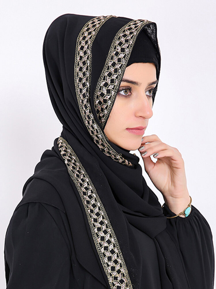 Women Muslim Headscarf Plain Pearl Chiffon Scarf Hijab Arab Islamic Prayer Loop Shawls Scarves