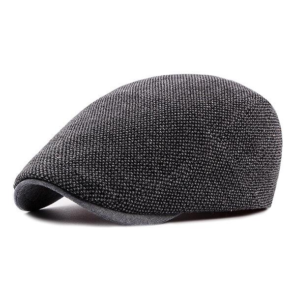 Men Thickening Adjustable Cotton Solid Warm Breathable Lightweight Vintage Beret Cap