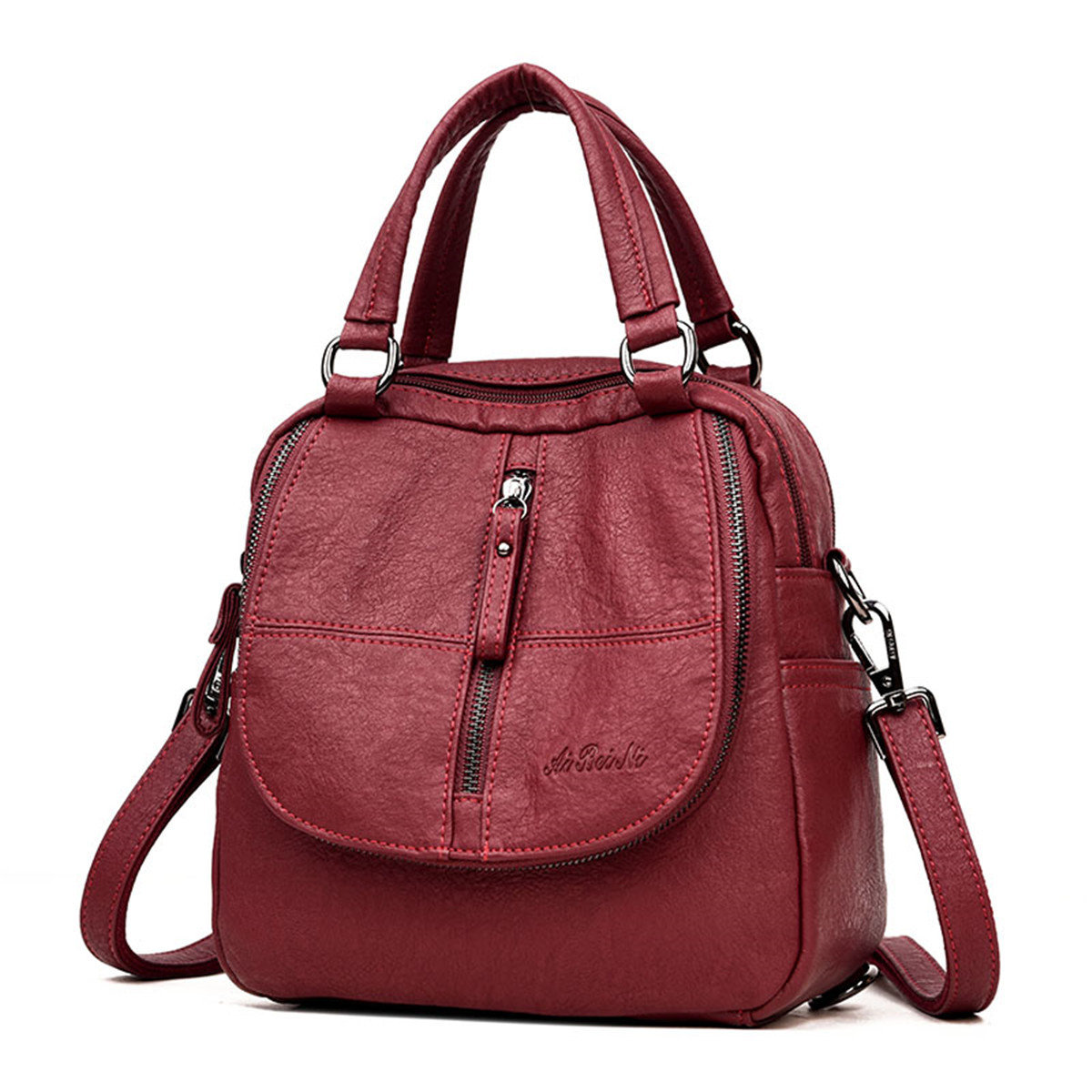 Women High-end Multifunction Soft PU Leather Handbag Double Layer Large Capacity Backpack