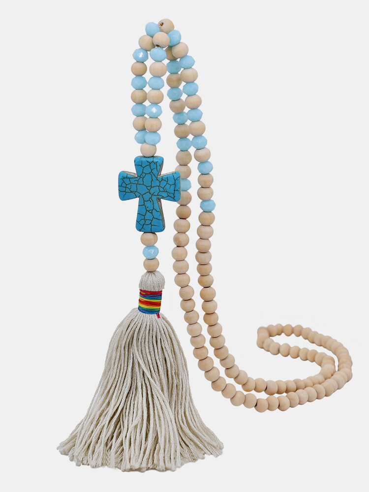 Vintage Ethnic Cross Tassel Pendant Wooden Beads Turquoise Crystal Beads Necklace