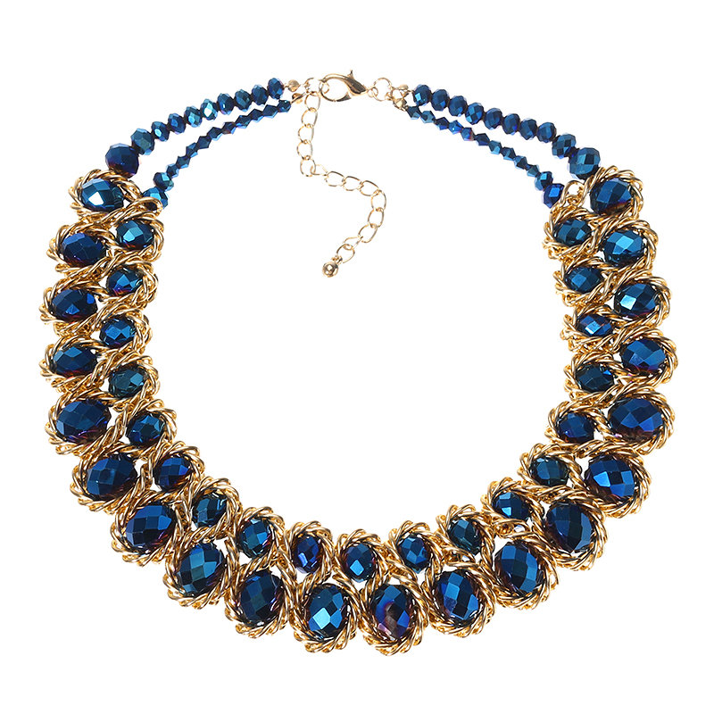 Luxury Women's Colorful Crystal Gold Exaggerated Bib Necklace Gift