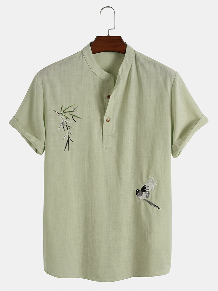 Designer Mens 100% Cotton Breathable Chinese Style Embroidered Henley Shirts