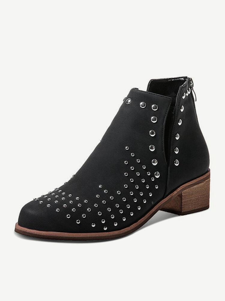 Women Brief Rhinestone Design Solid Color Back-zip Ankle Booties