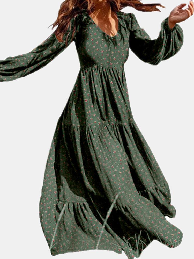 女性のための花柄長袖Vネックカジュアルドレス