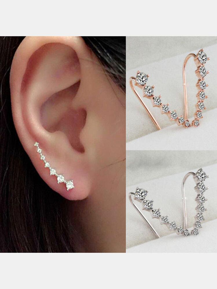 Trendy Rhinestone Cuff Earrings Elegant Silver Gold Color Piercing Clip Earrings Chic Jewelry
