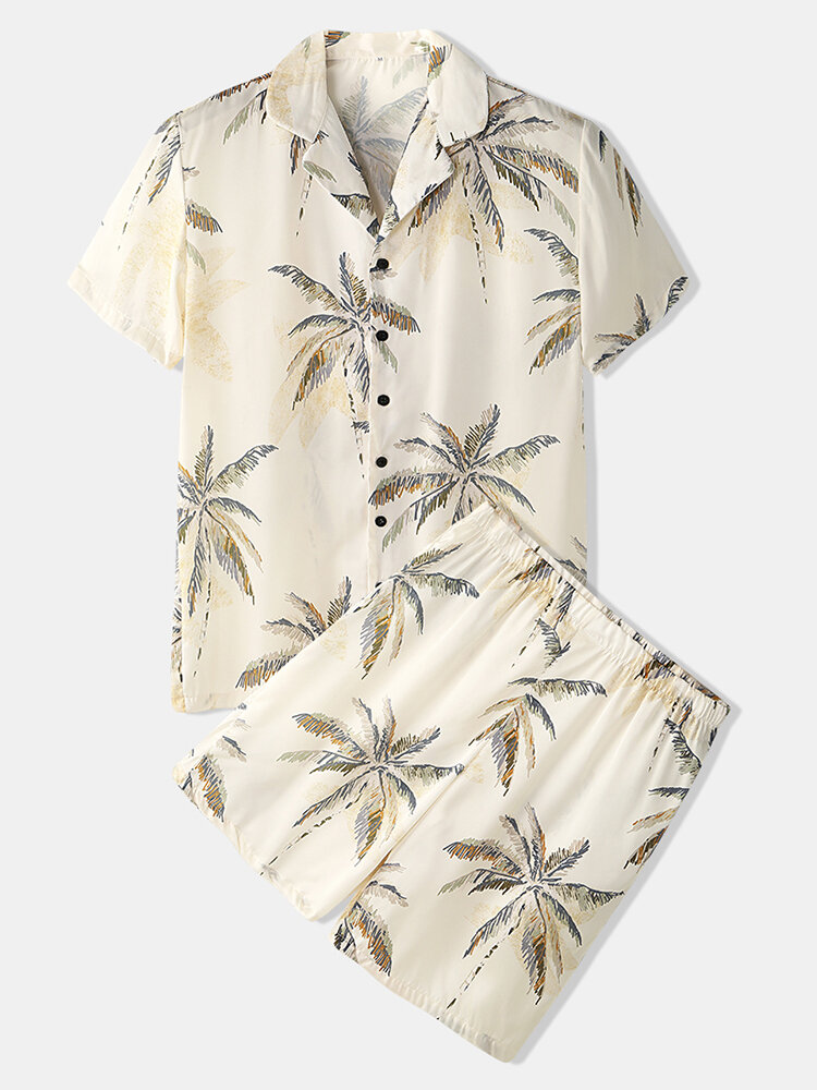 Tropical Tree Print Loungewear Lapeal Collar Short Sleeve Thin Cozy Faux Silk Pajamas for Men